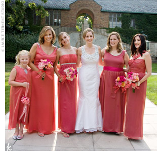 The focal point of Karen's custom-made dress was an oval, tribal-style collar, studded with glass, metal, cloth, and wood beads. So they'd look their best (and maybe even wear their dresses again!), Karen let her bridesmaids choose their own gowns in either watermelon or coral, to unify the styles.