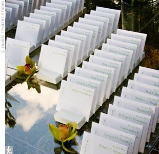 The escort-card envelopes contained two pieces: a card with guests' table numbers and another with a blueprint of the reception floor plan. The blueprint cards were illustrated by Rick's architect brother and helped guests easily find their table in the large space.