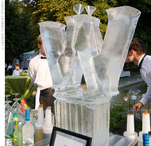 "Martinis were served from a tall ice luge in the shape of the letter ""W,"" the couple's new shared monogram. The addition really spruced up the cocktail hour."