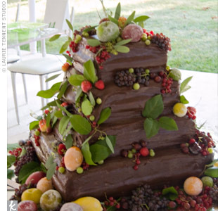 Karen and Rick wanted a nontraditional wedding cake, so they chose a three-tiered chocolate one decorated with fresh, sugared fruit.