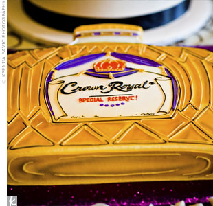 Michael's family toasts all special occasions with Crown Royal Canadian whisky. To complement the tradition, the groom's cake was sculpted in the shape of a bottle of the Special Reserve, Michael's favorite.