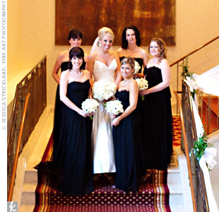 Susan's bridesmaids wore black mesh, floor-length dresses by Vera Wang.