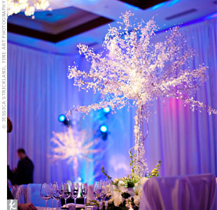 Crystal tree centerpieces added sparkle to the reception tables and helped complete the winter wonderland theme.