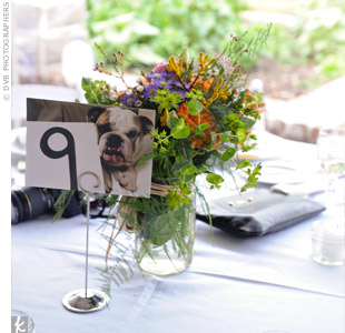 Mason jars filled with wildflowers complemented the natural surroundings and added a pop of color to the white-linen-covered reception tables. Table numbers and photos of Emily and Brian's English bulldog puppy, Coach, accompanied the floral arrangements.