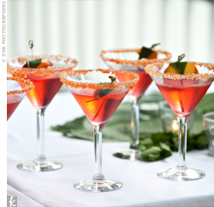 "Dubbed the ""Mollo-tini"" for the couple's last name, the signature drink recipe played off the Georgia peach theme and was made of peach vodka, peach schnapps, Grand Marnier, and a splash of grenadine."