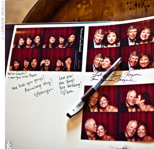 As guests took their turn in the photo booth, they were directed to take one strip of photos home and put the copy into a guest book, also filled with handwritten notes.