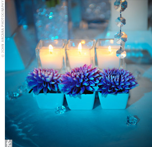 blue, candles wedding