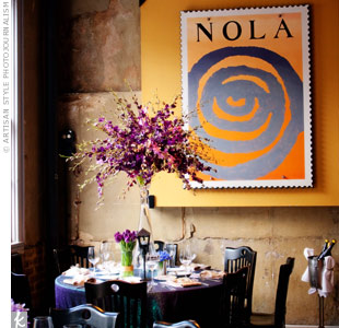 Colleen and Brad had traveled to New Orleans together many times and have eaten at all three of Emeril Lagasse's restaurants there. They chose Nola for its atmosphere and classic Louisiana cuisine.