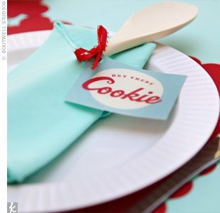 Each guests place setting included a fun take-home -- a wooden spoon, fork, or spatula