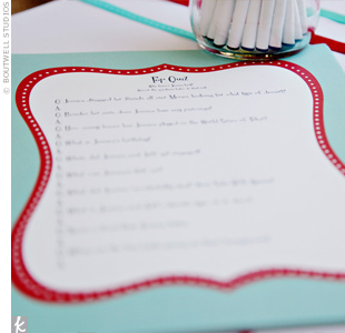 The planners put together a pop quiz, Who Knows the Bride Best? for guests to take. They printed the quizzes on white paper with a retro-style teal-and-red border.