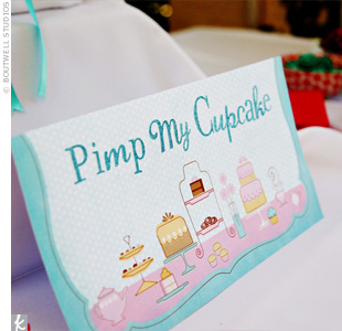 "There was even a ""Pimp My Cupcake"" station where guests could dress up their cupcakes with colored sprinkles and flowers."