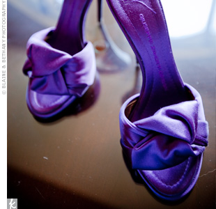 Anh wore dark purple heeled shoes that she found at Macy's on her wedding day.