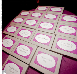 Because Anh and Matthew are both card game fans, they gave their wedding guests Uno playing decks wrapped with personalized thank you cards.