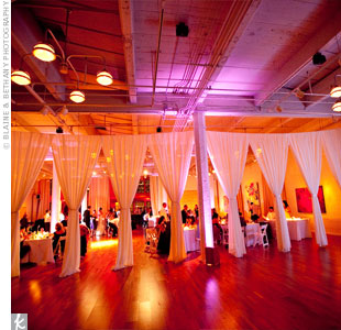 White curtains defined the reception space at the Terra Art Gallery.
