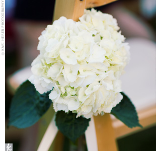 White hydrangeas tied to the wooden chairs with sleek white ribbons lined the aisle during the ceremony.