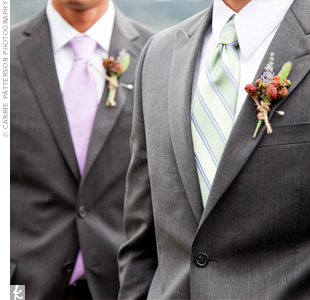 The groomsmen, Lia's two brothers, were allowed to pick their own gray suits and ties, adding to the laid-back atmosphere of the wedding. The boutonnieres were made from wild berries and sprigs of greenery tied with twine.