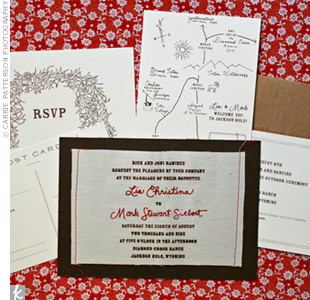 The woodgrain texture stationery was one of the bride's favorite parts of the wedding. An illustrated map of Jackson Hole was included with all of the RSVP cards, adding a quirky, non-traditional touch to the invitations.