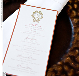 Warm colors set the tone for the intimate rehearsal dinner. The menu cards were mounted onto terra cotta-colored card stock.