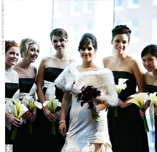 Black-and-White Bridesmaid Dresses