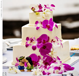 Fuchsia Orchid Wedding Cake