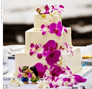 Fuchsia Orchid Wedding Cake