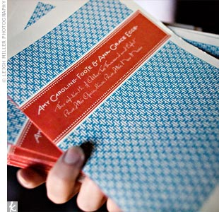 The couple's designer created the ceremony programs with the same faded orange-and-blue colors and lettering she used on the invitations. The diamond-patterned background gave the covers a vintage, Southwestern feel.