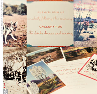 "Amy and Ana's designer asked them to find vintage post cards from the area to inspire their invites and produce an authentic southwestern feel. She used a few that looked faded by the desert sun, using fonts to characterize both New Mexico and New York. They created ""Go West"" save-the-dates card to prepare guests for the trek to their wedding, whic ..."