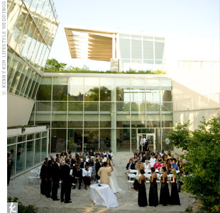Erika and Cory exchanged vows in the outdoor courtyard at the Nature Museum.