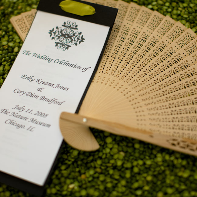 Sandalwood fans—to keep guests cool in the summer sun—accompanied the black-and-white ceremony programs.