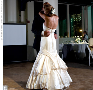 "Although they shared their first slow dance to ""Fortunate,"" by Maxwell, Erika and Cory surprised everyone by entering the reception to ""Apache,"" by Sugar Hill Gang and doing a little dance."