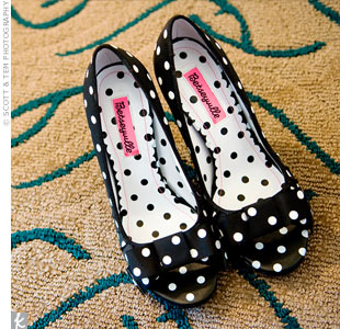"Polka-dot shoes added an edge to Emalie's traditional look. ""I have tattoos and a quirky personality, so I still wanted some of that to shine through,"" she says."