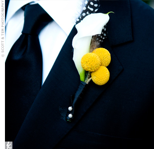 Yellow scabiosa and a single calla lily combined for a modern bout. The guinea feathers punched up Jonathan's otherwise classic look.