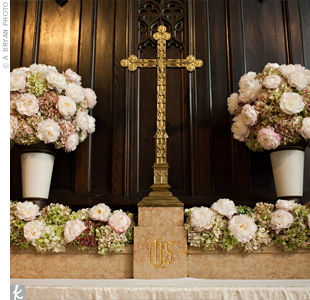 Pink Wedding Alter Flowers