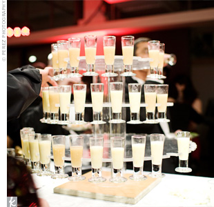 Tiers of citrus-flavored vodka shots were displayed next to a station with gravlax, flatbread with cured salmon on top. The bride wasn't thrilled about having cured salmon (a Jewish tradition) at her wedding, but gave in when the caterer said it paired well with her favorite liquor!