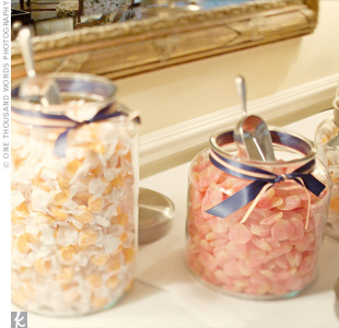 Jars of candy were on hand during the reception for guests to take and enjoy throughout the evening.