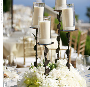 White Candle Centerpieces