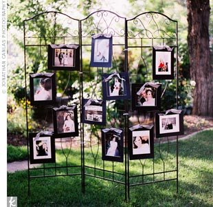 In an intimate gesture, the couple's friends framed pictures taken of Becca and Issac during their engagement photo sessions and hung them on this three-fold, wrought iron room divider.