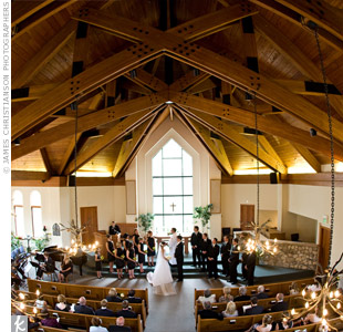 Aimee and Tom held their ceremony in a quaint stone chapel in the heart of Beaver Creek. The rustic church provided amazing views of the mountains, nearby woods and creek.