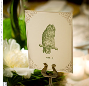 Aimee and Tom brought their love for nature into the reception space with letter-pressed table cards depicting woodland creatures and flowers.