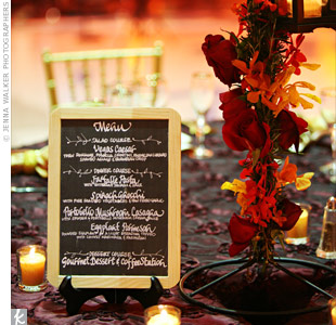 Custom-designed chalkboard menus added a playful touch to the tables cape.