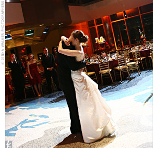 "Kristi and James shared their first dance to a live acoustic version of the Oasis song, ""Wonderwall,"" a tune they've always loved."