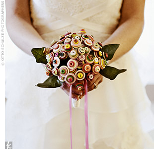 "The ""no flowers"" rule didn't stop Tracy from having a fabulous bouquet. She turned to Etsy.com for creative ideas and came across a bouquet made entirely of candy-colored buttons."