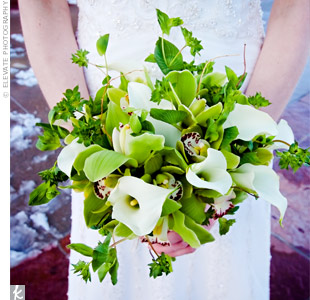 Locally grown green cymbidium orchids contrasted with ivory calla lilies, lady's mantle and curly willow. A raffia tie completed the natural look.