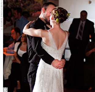 "The couple gave the DJ a playlist that was chock-full of'80s music. For their first dance, they chose a more modern tune, ""Flightless Bird, American Mouth,"" by Iron & Wine."