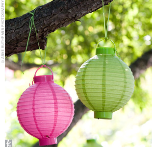 The pink and green paper lanterns that hung at the ceremony added to the airy, summery vibe.