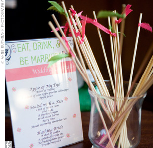 "One of the specialty drinks the couple chose was ""Apple of My Eye,"" which fit the wedding's green color scheme."
