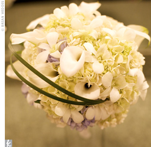 Marc's sister also created Jennie's white bridal bouquet out of calla lilies and orchids.