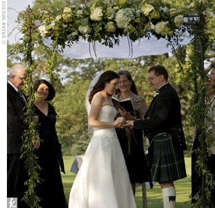 Jennie and Marc were married in a traditional Jewish ceremony beneath a huppah. To incorporate Marc's Scottish heritage, Marc wore a kilt and a bagpiper performed at the end of the ceremony.
