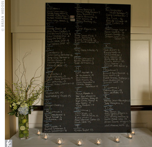 Instead of escort cards, Jennie and Marc had a more eco-friendly idea: Guests found their table assignments with the help of a giant chalkboard.