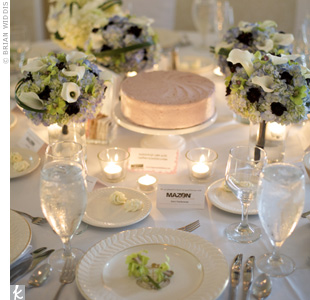 Instead of just flowers, each of the 20 tables had a different cake as a centerpiece, the idea being that guests would try many of the cakes and mingle in the process. Candles and small arrangements of calla lilies, orchids and chocolate cosmos surrounded the sweet centerpieces.